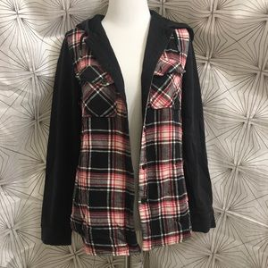 Volcom Black, Red and White Plaid Sweater Jacket